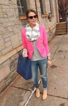 blazer rosa com encharpe