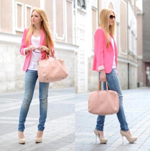blazer rosa como usar com jeans