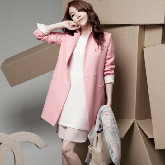 blazer rosa longo com saia rosa