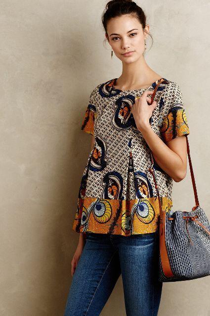 moda africana blusa e calça jeans