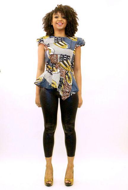 moda africana  com calça preta