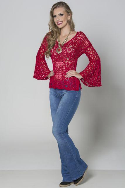 blusa flare de renda vermelha