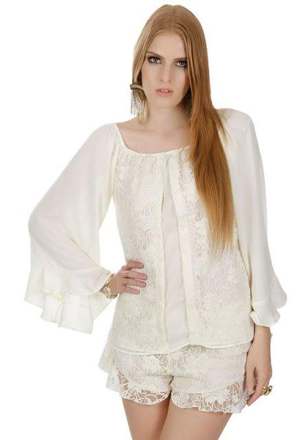blusa flare de renda branca