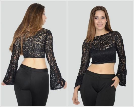blusa flare modelo cropped