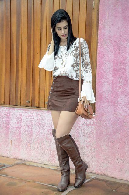 blusa flare com saia marrom