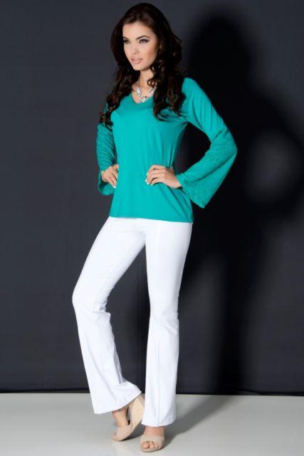 blusa flare verde lisa