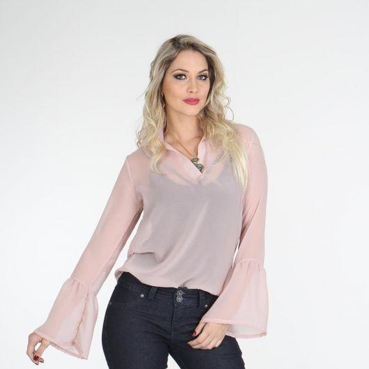 blusa flare com sobreposição