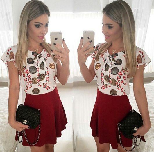 blusa gravatinha estampada com saia vermelha