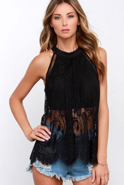 blusa preta rendada