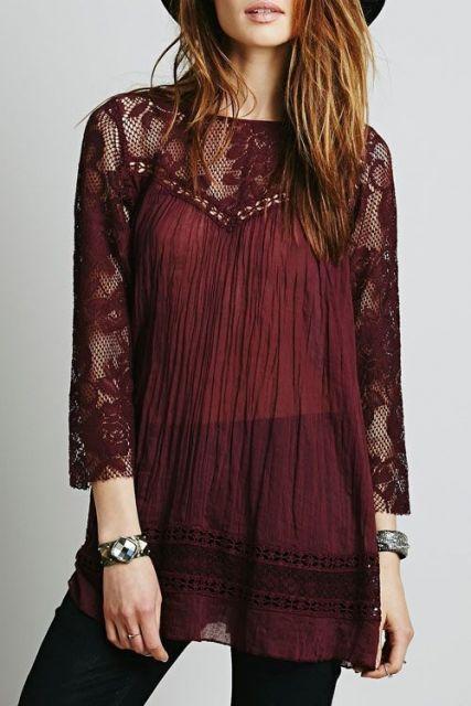 blusa boho rendada