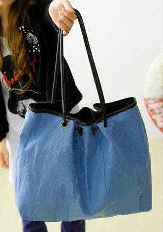 bolsa jeans alça preta