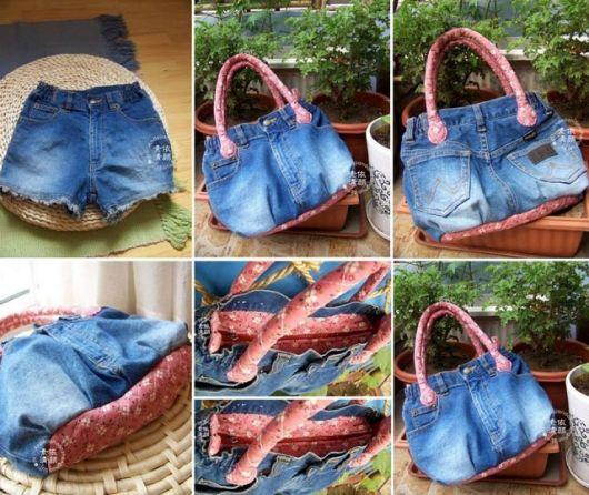 bolsa jeans com tecido