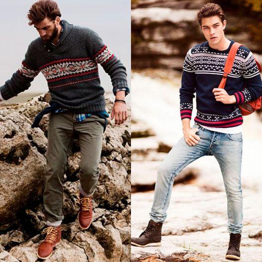 bota masculina com tricot