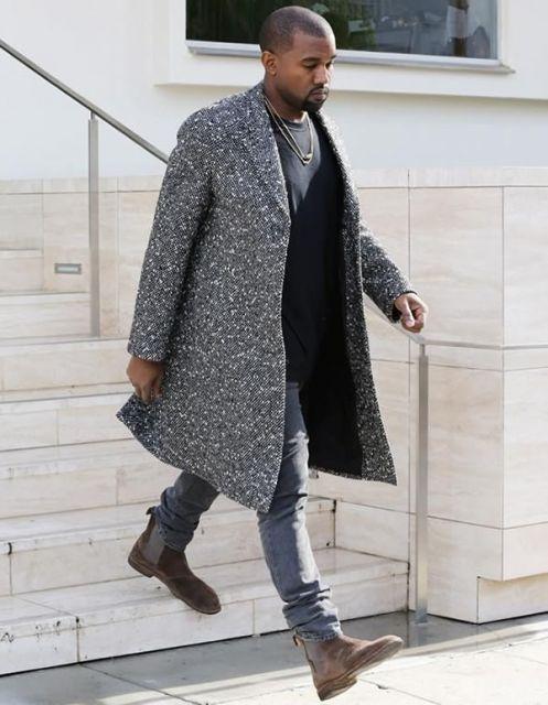 bota masculina e sobretudo