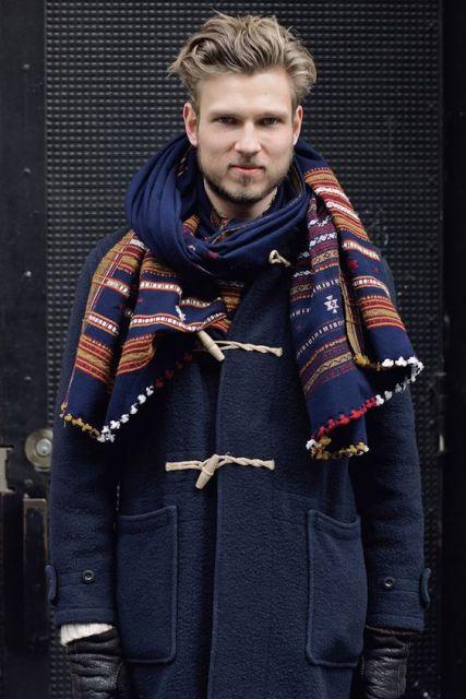 cachecol masculino - modelo estampado