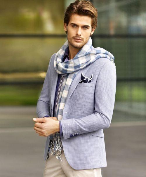 cachecol masculino - azul xadrez