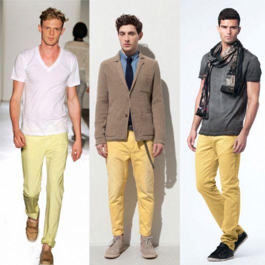 calça amarela casual