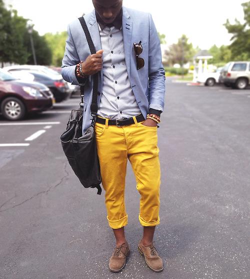 calça amarela inverno