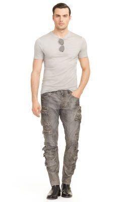 calça cargo masculina moderna rasgada