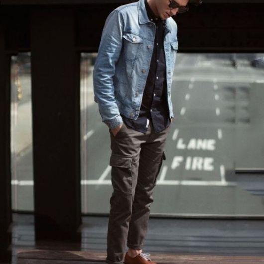 calça cargo masculina padrão com sobreposição