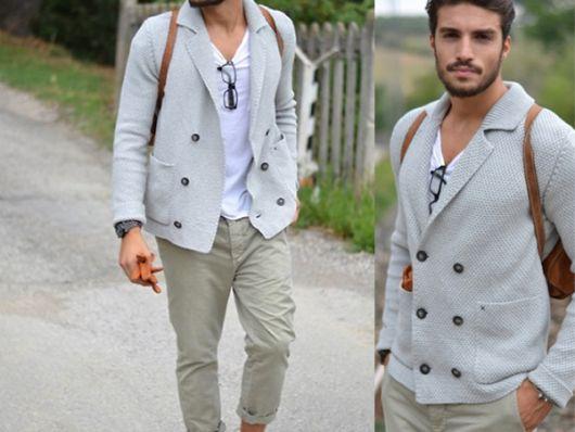 calça chino e blazer