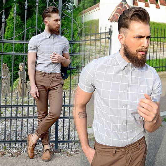 calça chino e camisa social