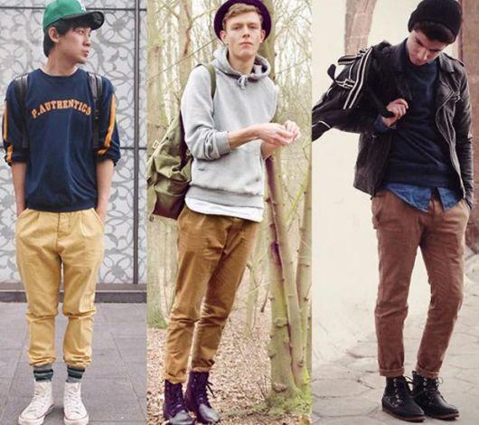 calça chino masculina e cano alto