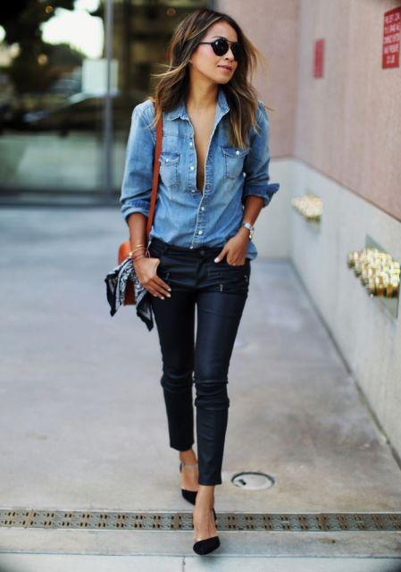 preto com camisa jeans