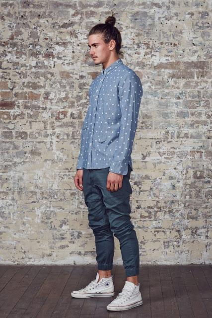 calça colorida masculina azul casual