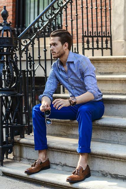calça colorida masculina azul sofisticado