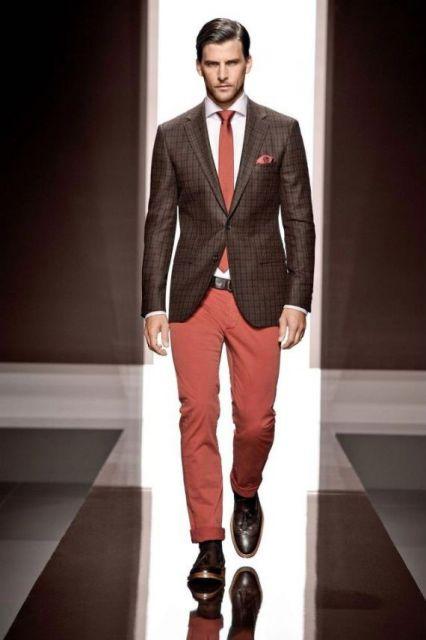 calça colorida masculina laranja com gravata