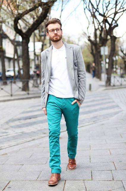 calça colorida masculina verde água