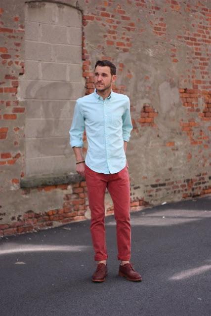 calça colorida masculina vermelha casual