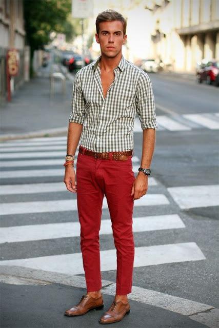 calça colorida masculina vermelha cotidiano