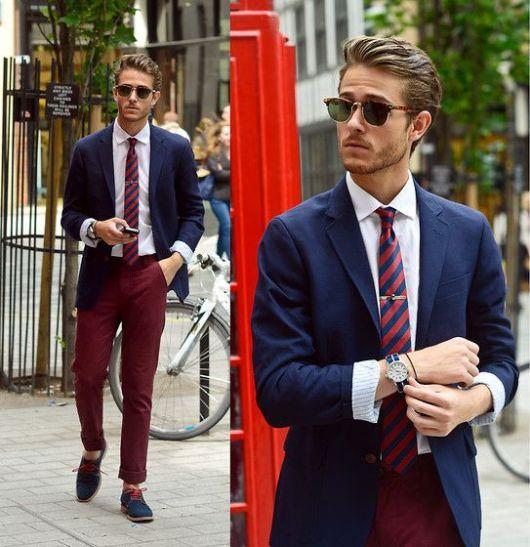 calça colorida masculina vinho sofisticada