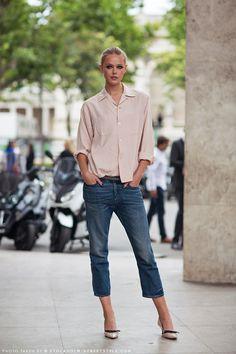 calça cropped com blusa social