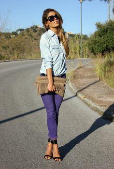 calça cropped jeans colorido