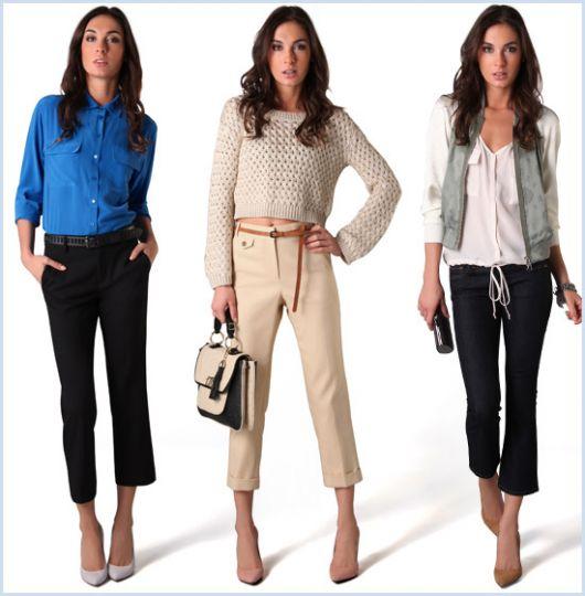 ideias de look trabalho com calça crooped