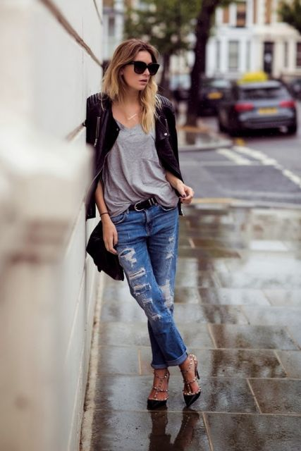 calça cropped jeans rasgado