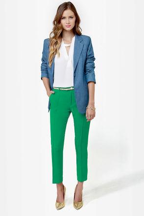 calça cropped verde