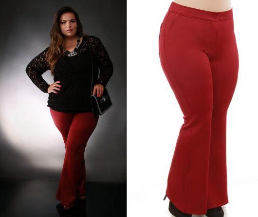 calça flare plus size vermelha