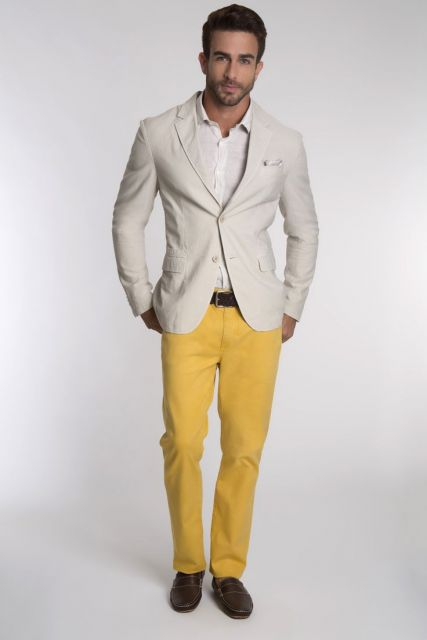 calça masculina amarela formal