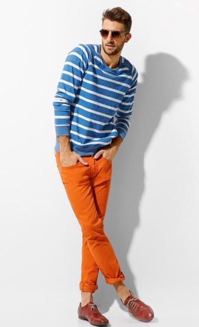 calça masculina laranja casual