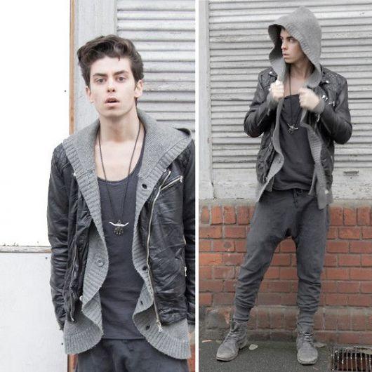 calça saruel masculina cinza