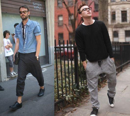 calça saruel masculina dois modelos