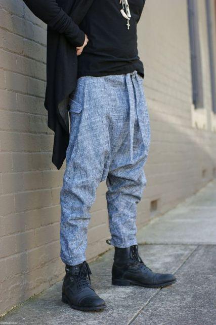 calça saruel masculina modelo azul