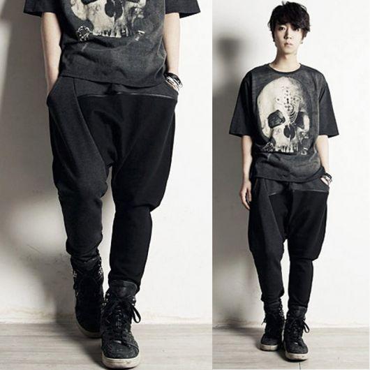 calça saruel masculina preta