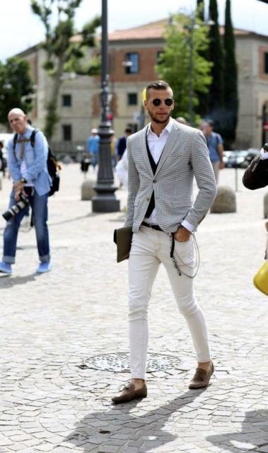 calça skinny masculina clara e sofisticada