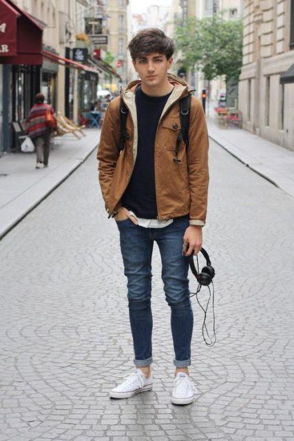 calça skinny masculina dobrada