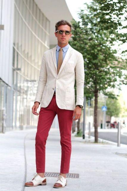 calça vermelha sofisticada